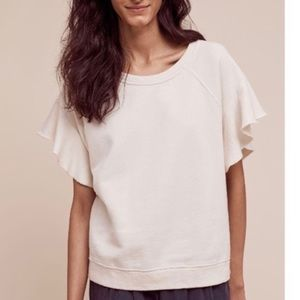 Saturday Sunday Cream Ruffle Sleeve Sweatshirt S